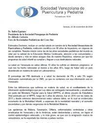 Carta de la Sociedad Venezolana de Puericultura y Pediatría.