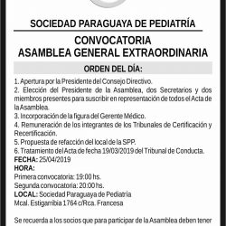 Convocatoria: Asamblea General Extraordinaria.