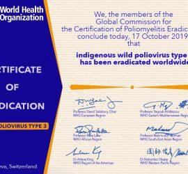 Certificate of Eradication – Wild Poliovirus Type 3