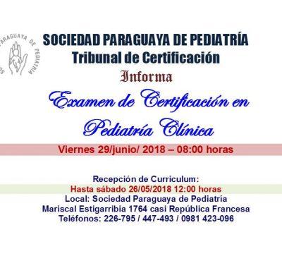 Examen de Certificación en Pediatría Clínica
