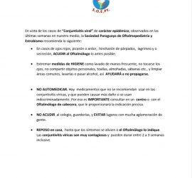 Sociedad Paraguaya de Oftalmología informa: