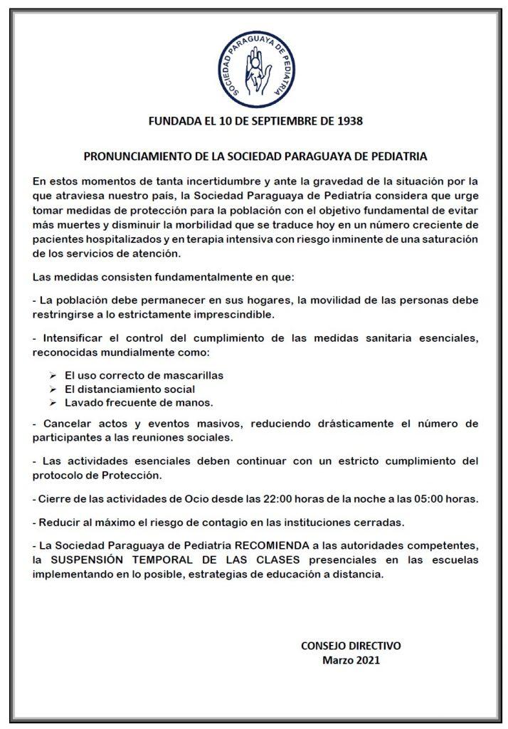 Pronunciamiento de la Sociedad Paraguaya de Pediatría sobre la gravedad de la situación del COVID-19